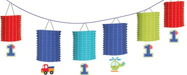 All Aboard 1st Birthday Party Lantern Garland - 3.65m