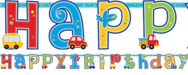 All Aboard 1st Birthday Party Happy Birthday Banner - 3m