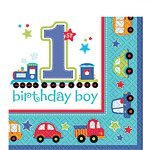 All Aboard 1st Birthday Paper Party Napkins - 2 Ply (16pk)