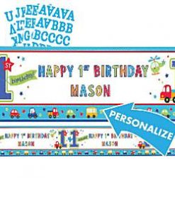 All Aboard 1st Birthday Party Giant Personalised Banner 1.65m