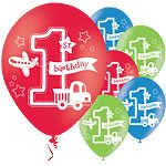 "All Aboard 1st Birthday Party Printed Latex Balloon - 11"" (Pk 6)"