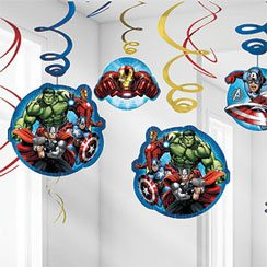 Avengers Party Hanging Swirl Decorations - 60cm (12pk)