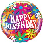 Feeling Groovy Happy Birthday Psychedelic Daisies Balloon 18""