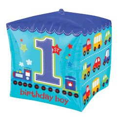 All Aboard 1st Birthday Party Cubez Foil Balloon - 24''