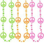 1960's Funky Peace Sign Bead Necklace (Pk 3)