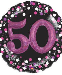 50th Birthday Pink Sparkling Celebration 3D Multi- Balloon