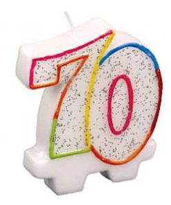 70th Glitter Candle