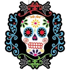Halloween Day of the Dead Skull & Rose Cutout