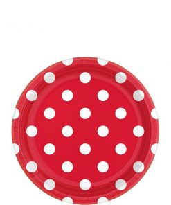 Red Polka Dot Party Paper Dessert Plates
