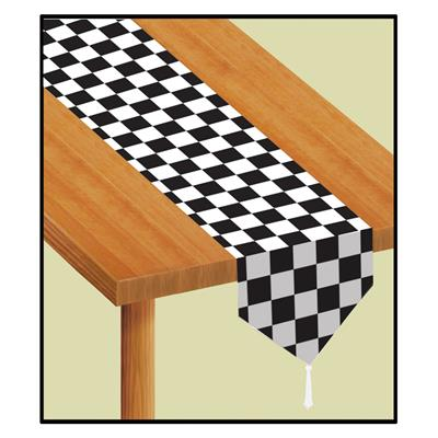 Black and White Checked Table runner