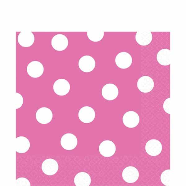 Hot Pink Polka Dot Party Paper Napkins