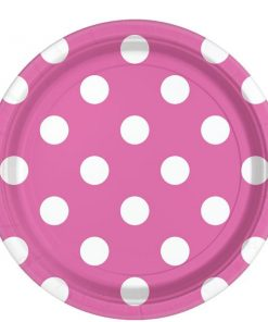 Hot Pink Polka Dot Party Paper Plates