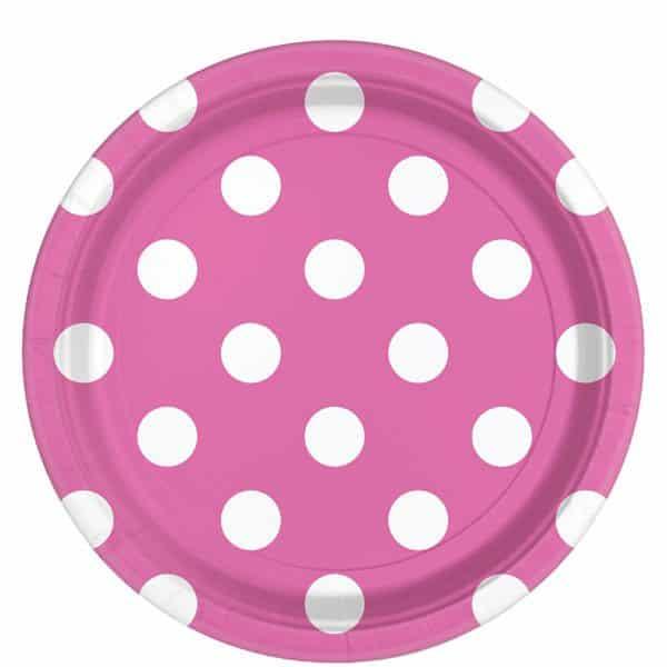 Hot Pink Polka Dot Party Paper Plates