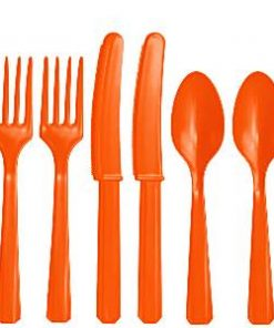 Orange Plastic Cutlery Set