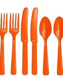 Orange Plastic Cutlery Set