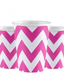 hot pink chevron paper cups