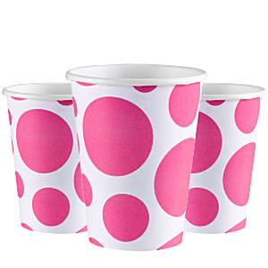 Hot Pink Dot Party Paper Cups