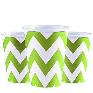 Lime Green Chevron Party Cups