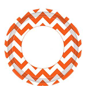 Orange Chevron Paper Plates