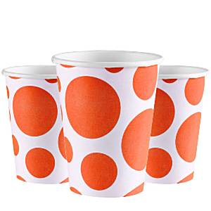Orange Dot Party Paper Cups