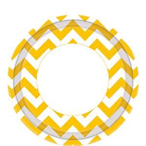 Yellow Chevron Paper Plates