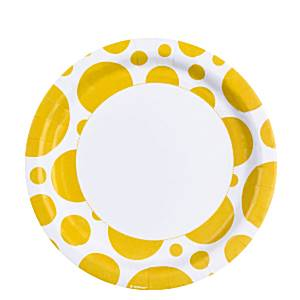 Yellow Dots Paper Plates