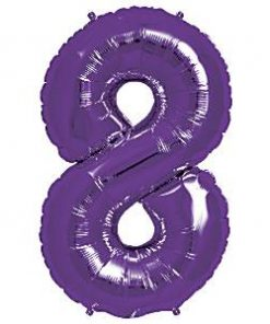 Purple Number 8 Foil Balloon