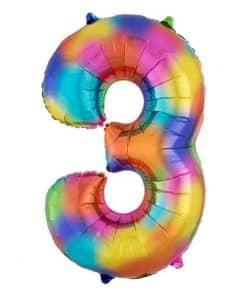 Rainbow Splash Number 3 Foil Balloon
