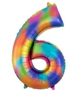 Rainbow Splash Number 6 Foil Balloon