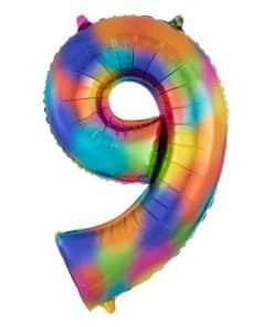 Rainbow Splash Number 9 Foil Balloon