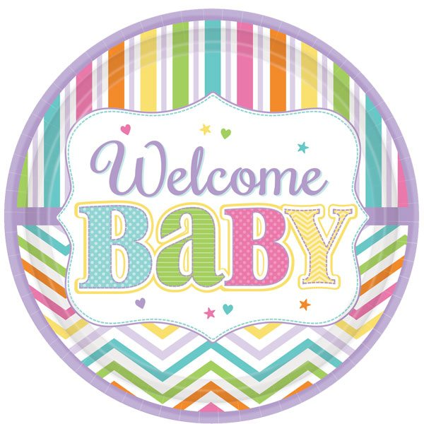 Baby Bright Party Paper Plates