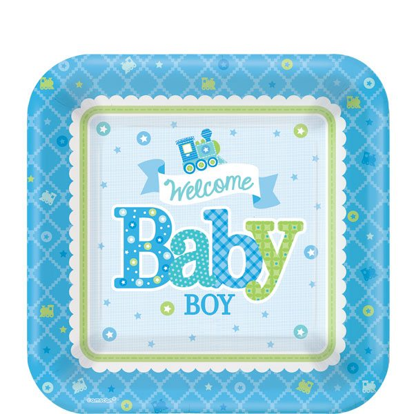 Welcome Baby Boy Plates Small