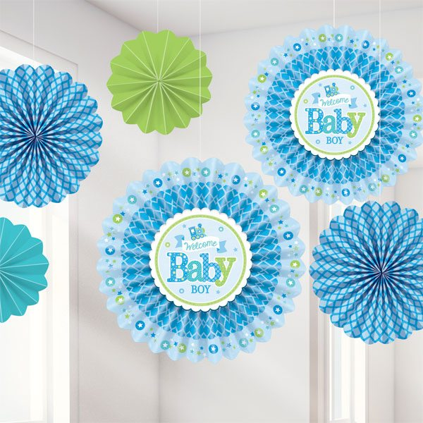 Welcome Baby Boy Party Fan Decorations