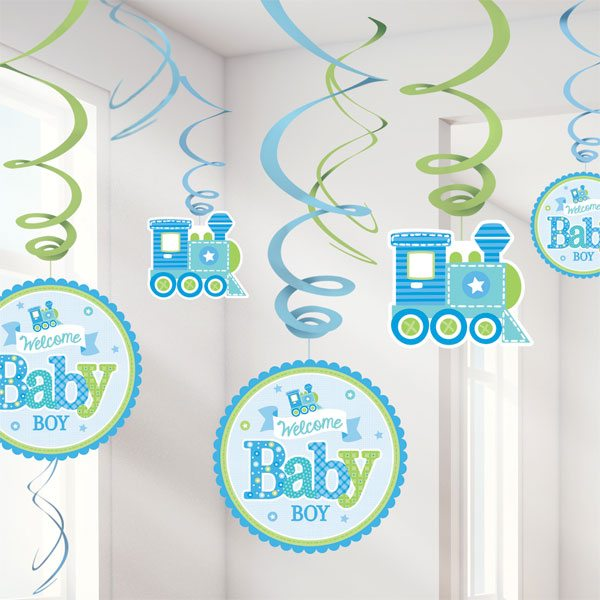 Welcome Baby Bow Hanging Swirl Decorations