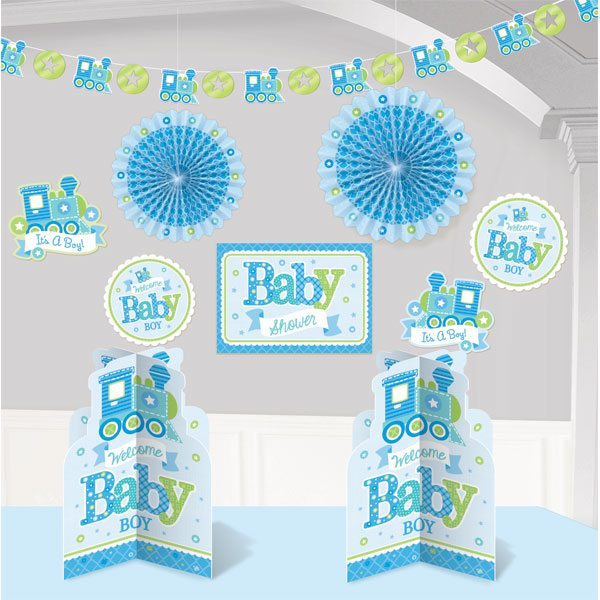 Welcome baby boy party kit fun party supplies for Baby shower room decoration