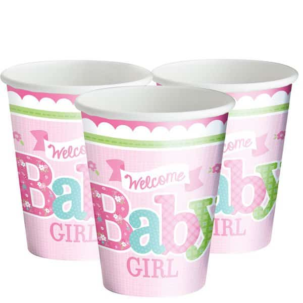 Welcome Baby Girl Party Paper Cups