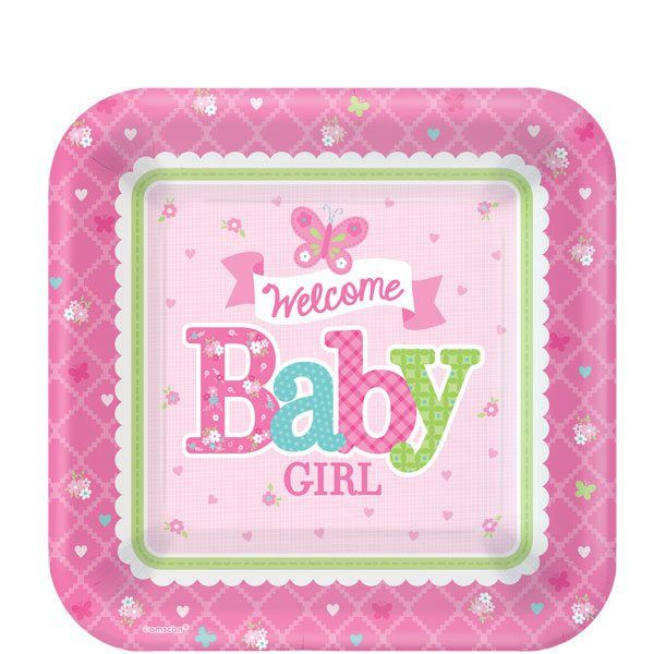 Welcome Baby Girl Party Paper Dessert Plates