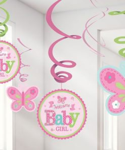 Welcome Baby Girl Party Hanging Swirl Decorations