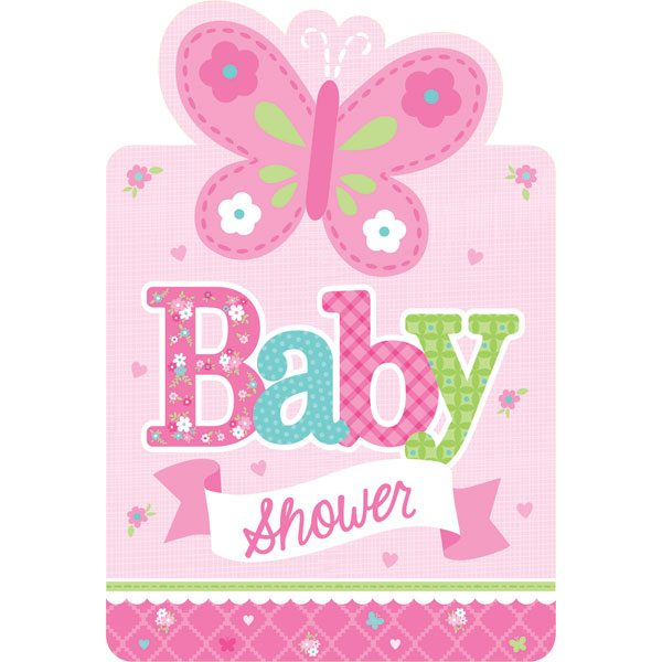 Welcome Baby Girl Party Invitations