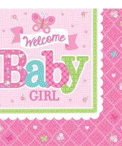 Welcome Baby Girl Party Paper Napkins