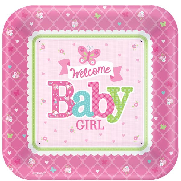 Welcome baby girl party paper plates fun party supplies for Welcome home decorations for baby