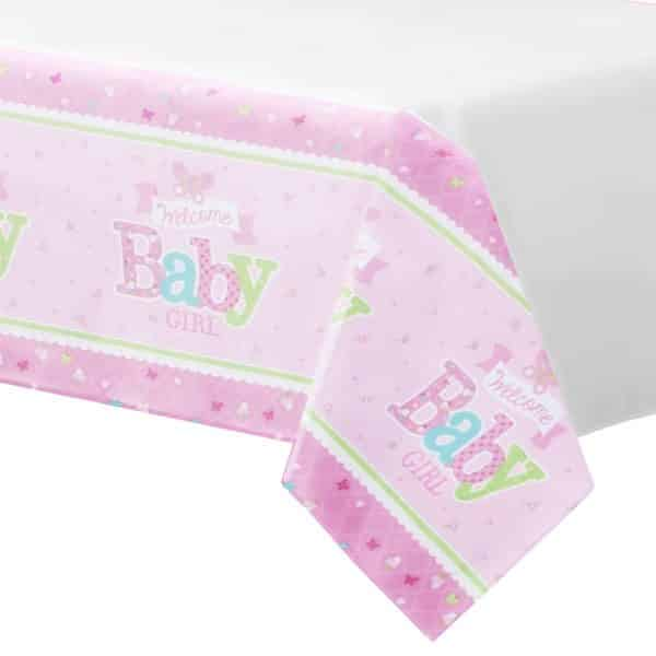 Welcome Baby Girl Party Paper Tablecover