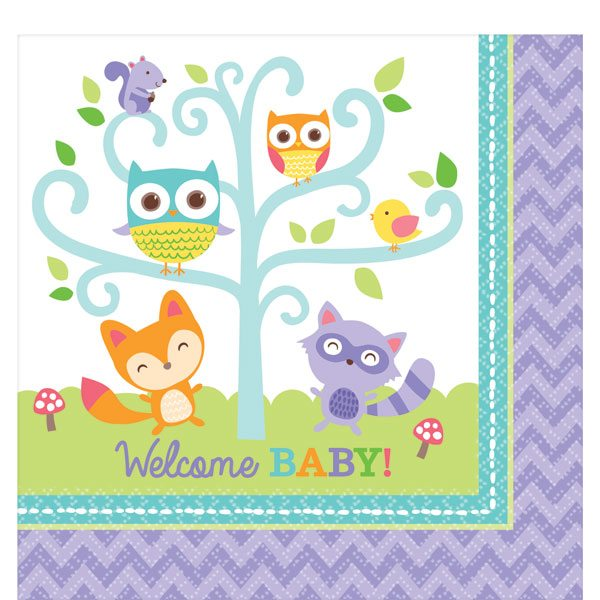 Woodland Baby Party Paper Napkins