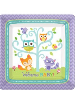 Woodland Baby Party Paper Plates - 17cm