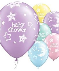 "Baby Shower Moon & Stars Latex 11"" Balloons"