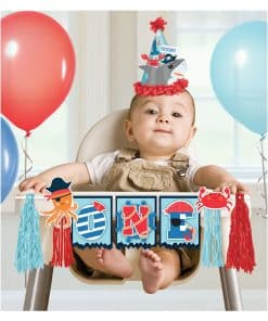 Ahoy Birthday Party High Chair Decoration Banner