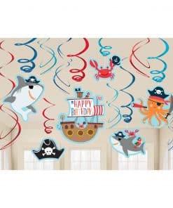 Ahoy Birthday Party Hanging Swirls Decorations