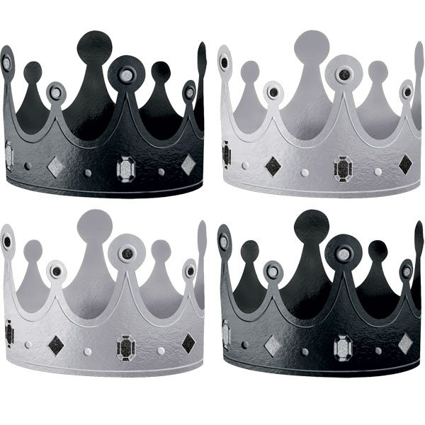 Black & White Metallic Crown Party Hats