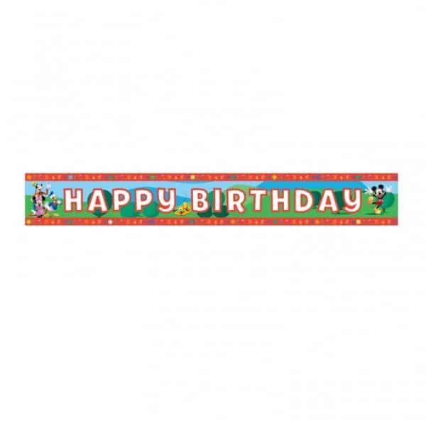 Mickey Mouse Party Happy Birthday Foil Banner