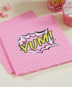 Superhero Pink Pop Art Party Paper 2ply Napkins